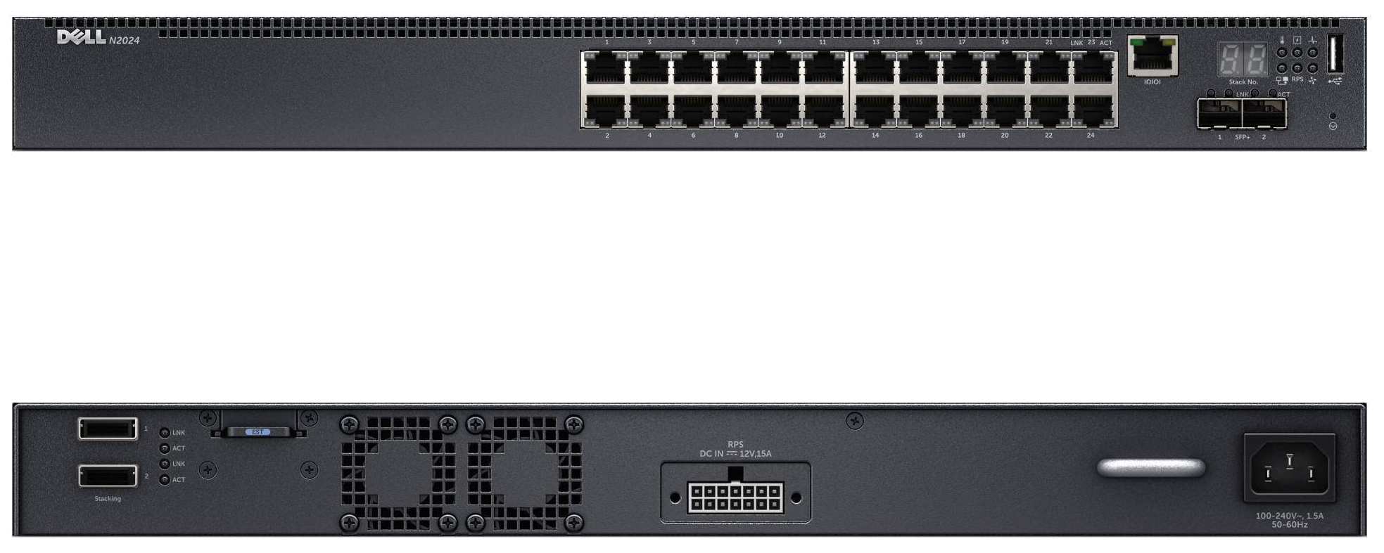 Dell Networking N2024, L2, 24x1GbE+2x10GbE SFP+fixed ports, Stacking